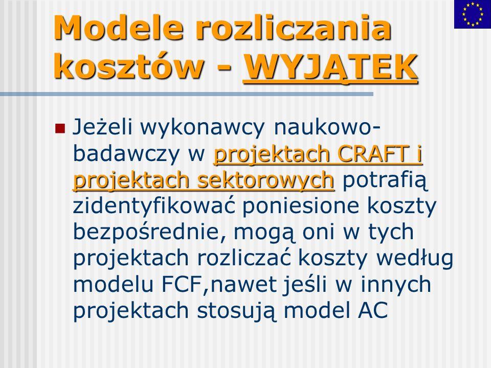 Modele rozliczania kosztów - WYJĄTEK projektach CRAFT i projektach sektorowych Jeżeli wykonawcy naukowo- badawczy w projektach CRAFT i projektach sektorowych potrafią zidentyfikować poniesione koszty bezpośrednie, mogą oni w tych projektach rozliczać koszty według modelu FCF,nawet jeśli w innych projektach stosują model AC
