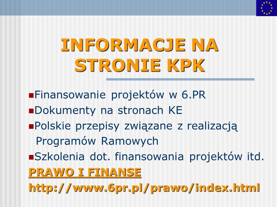 INFORMACJE NA STRONIE KPK Finansowanie projektów w 6.PR Dokumenty na stronach KE Polskie przepisy związane z realizacją Programów Ramowych Szkolenia d