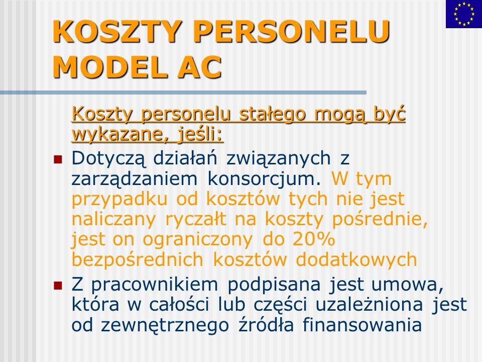 KOSZTY PERSONELU MODEL AC Koszty personelu stałego mogą być wykazane, jeśli: Dotyczą działań związanych z zarządzaniem konsorcjum. W tym przypadku od