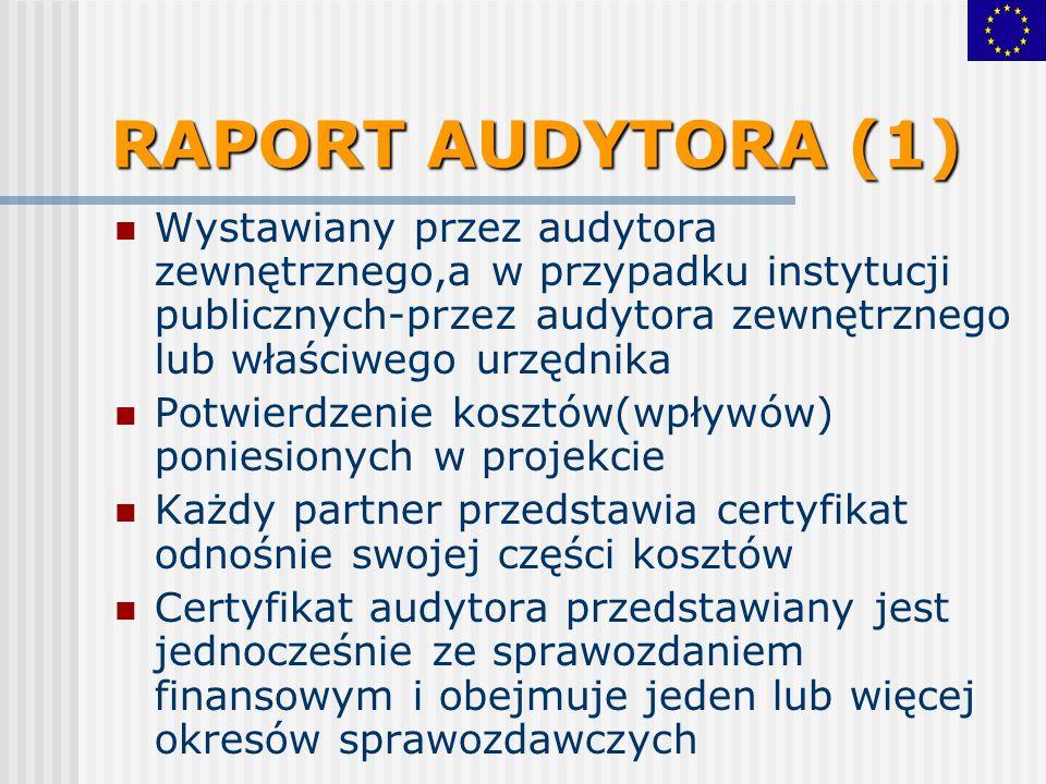 RAPORT AUDYTORA (1) Wystawiany przez audytora zewnętrznego,a w przypadku instytucji publicznych-przez audytora zewnętrznego lub właściwego urzędnika Potwierdzenie kosztów(wpływów) poniesionych w projekcie Każdy partner przedstawia certyfikat odnośnie swojej części kosztów Certyfikat audytora przedstawiany jest jednocześnie ze sprawozdaniem finansowym i obejmuje jeden lub więcej okresów sprawozdawczych