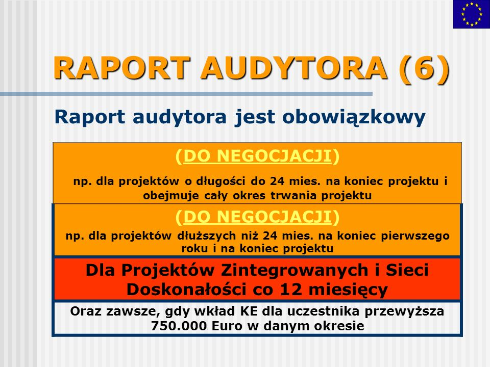 RAPORT AUDYTORA (6) Raport audytora jest obowiązkowy (DO NEGOCJACJI) np. dla projektów o długości do 24 mies. na koniec projektu i obejmuje cały okres
