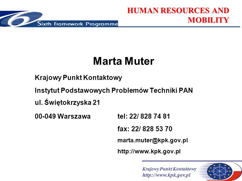 Krajowy Punkt Kontaktowy http://www.kpk.gov.pl HUMAN RESOURCES AND MOBILITY Marta Muter Krajowy Punkt Kontaktowy Instytut Podstawowych Problemów Techn