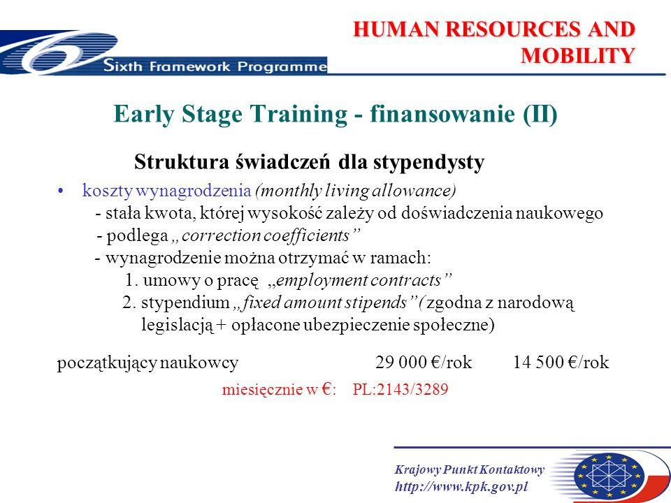 Krajowy Punkt Kontaktowy http://www.kpk.gov.pl HUMAN RESOURCES AND MOBILITY Early Stage Training - finansowanie (II) Struktura świadczeń dla stypendysty koszty wynagrodzenia (monthly living allowance) - stała kwota, której wysokość zależy od doświadczenia naukowego - podlega correction coefficients - wynagrodzenie można otrzymać w ramach: 1.