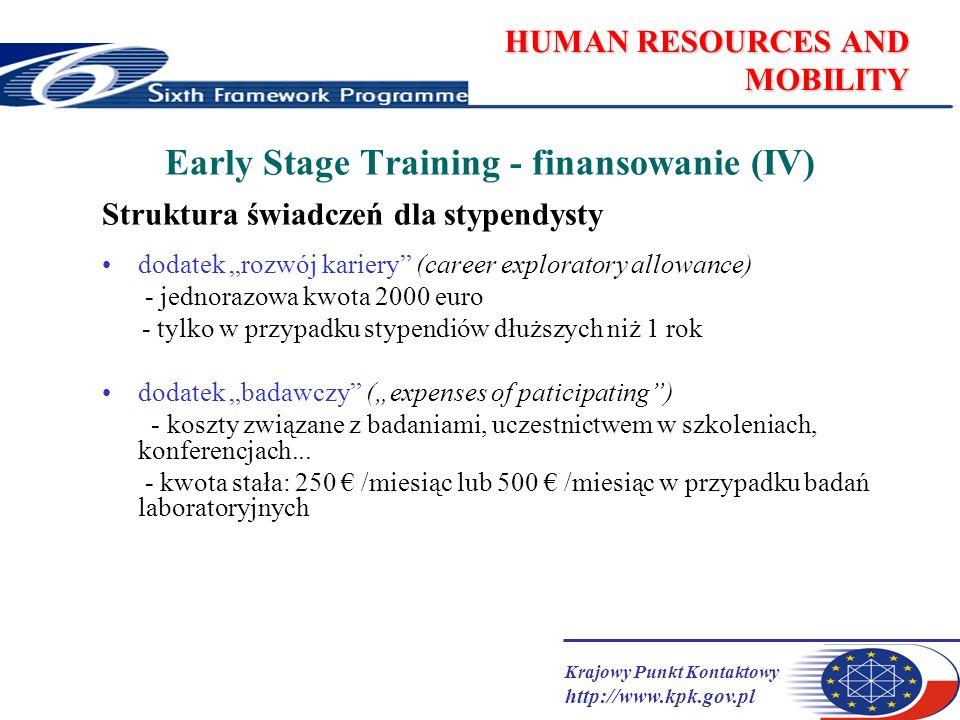 Krajowy Punkt Kontaktowy http://www.kpk.gov.pl HUMAN RESOURCES AND MOBILITY Early Stage Training - finansowanie (IV) Struktura świadczeń dla stypendysty dodatek rozwój kariery (career exploratory allowance) - jednorazowa kwota 2000 euro - tylko w przypadku stypendiów dłuższych niż 1 rok dodatek badawczy (expenses of paticipating) - koszty związane z badaniami, uczestnictwem w szkoleniach, konferencjach...