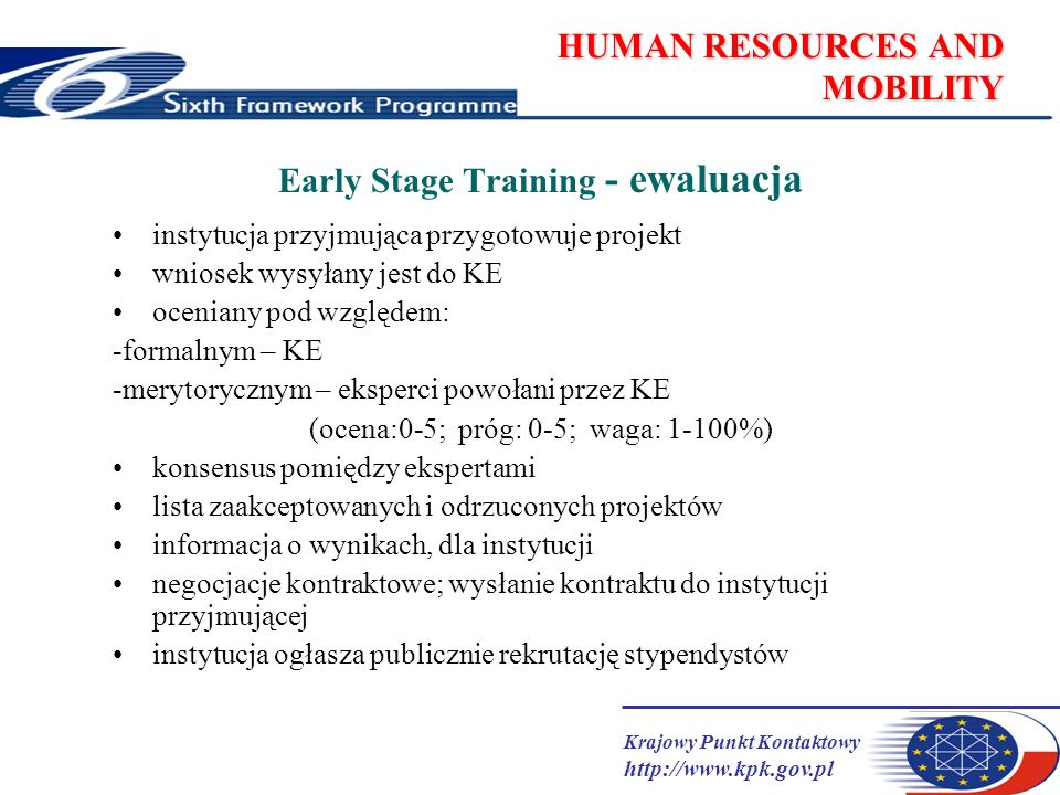 Krajowy Punkt Kontaktowy http://www.kpk.gov.pl HUMAN RESOURCES AND MOBILITY Early Stage Training - ewaluacja instytucja przyjmująca przygotowuje proje