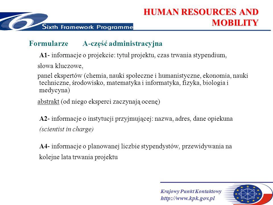 Krajowy Punkt Kontaktowy http://www.kpk.gov.pl HUMAN RESOURCES AND MOBILITY Formularze A-część administracyjna A1- informacje o projekcie: tytuł proje