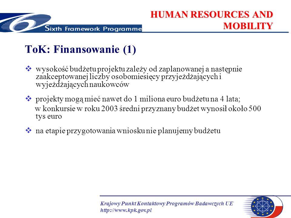 Krajowy Punkt Kontaktowy Programów Badawczych UE http://www.kpk.gov.pl HUMAN RESOURCES AND MOBILITY ToK: Finansowanie (1) wysokość budżetu projektu za