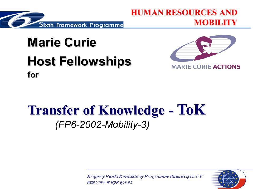 Krajowy Punkt Kontaktowy Programów Badawczych UE http://www.kpk.gov.pl HUMAN RESOURCES AND MOBILITY Dokumenty Handbook !!.