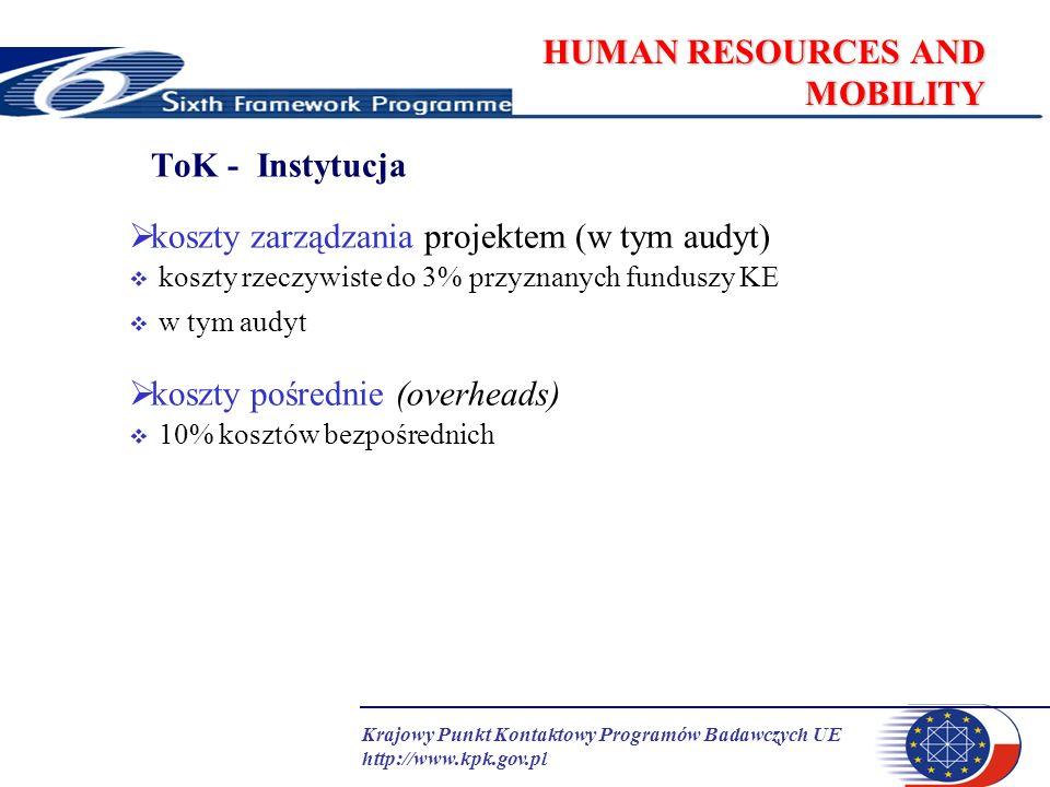 Krajowy Punkt Kontaktowy Programów Badawczych UE http://www.kpk.gov.pl HUMAN RESOURCES AND MOBILITY ToK - Instytucja koszty zarządzania projektem (w t