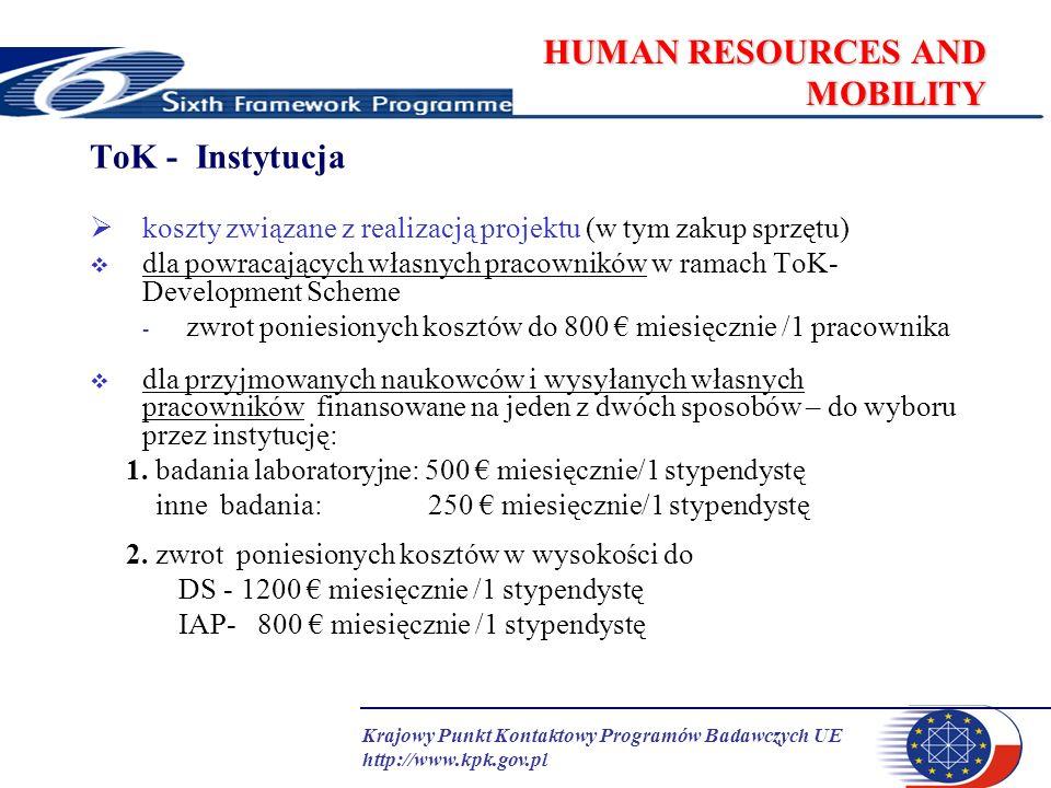 Krajowy Punkt Kontaktowy Programów Badawczych UE http://www.kpk.gov.pl HUMAN RESOURCES AND MOBILITY ToK - Instytucja koszty związane z realizacją proj