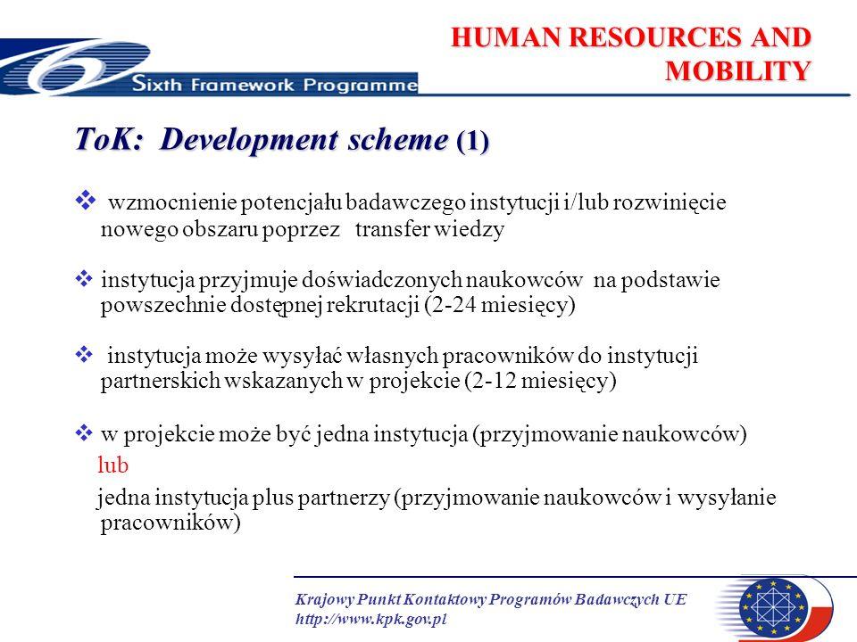 Krajowy Punkt Kontaktowy Programów Badawczych UE http://www.kpk.gov.pl HUMAN RESOURCES AND MOBILITY ToK: Development scheme (2) przyjmowanie naukowców na podstawie powszechnie dostępnej rekrutacji naukowcy z krajów członkowskich, stowarzyszonych i kandydujących naukowcy z krajów trzecich (wszystkie kraje poza powyższymi) – do 30% przyznanych osobo-miesięcy okres pobytu: od 2 do 24 miesięcy