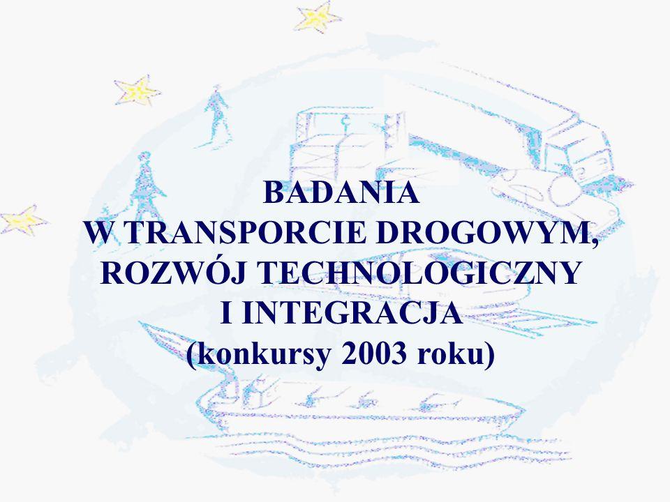BADANIA W TRANSPORCIE DROGOWYM, ROZWÓJ TECHNOLOGICZNY I INTEGRACJA (konkursy 2003 roku)