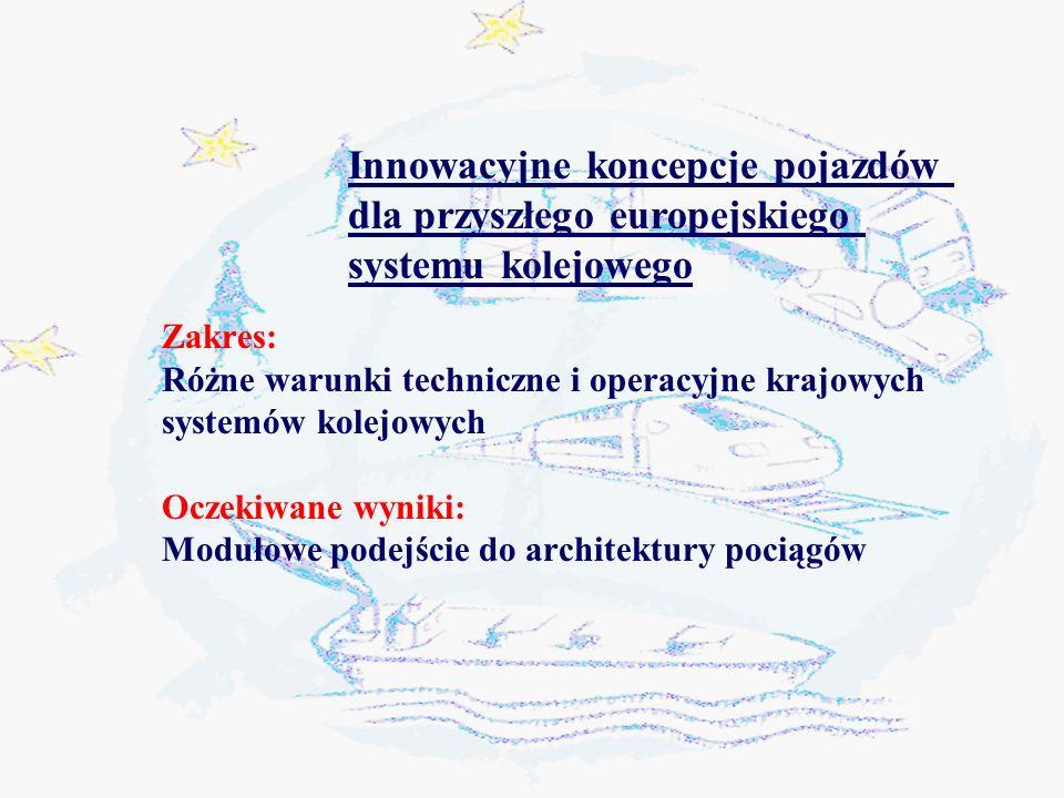 Zakres: Różne warunki techniczne i operacyjne krajowych systemów kolejowych Oczekiwane wyniki: Modułowe podejście do architektury pociągów Innowacyjne koncepcje pojazdów dla przyszłego europejskiego systemu kolejowego