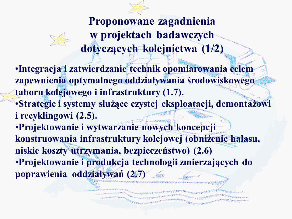 Integracja i zatwierdzanie technik opomiarowania celem zapewnienia optymalnego oddziaływania środowiskowego taboru kolejowego i infrastruktury (1.7).