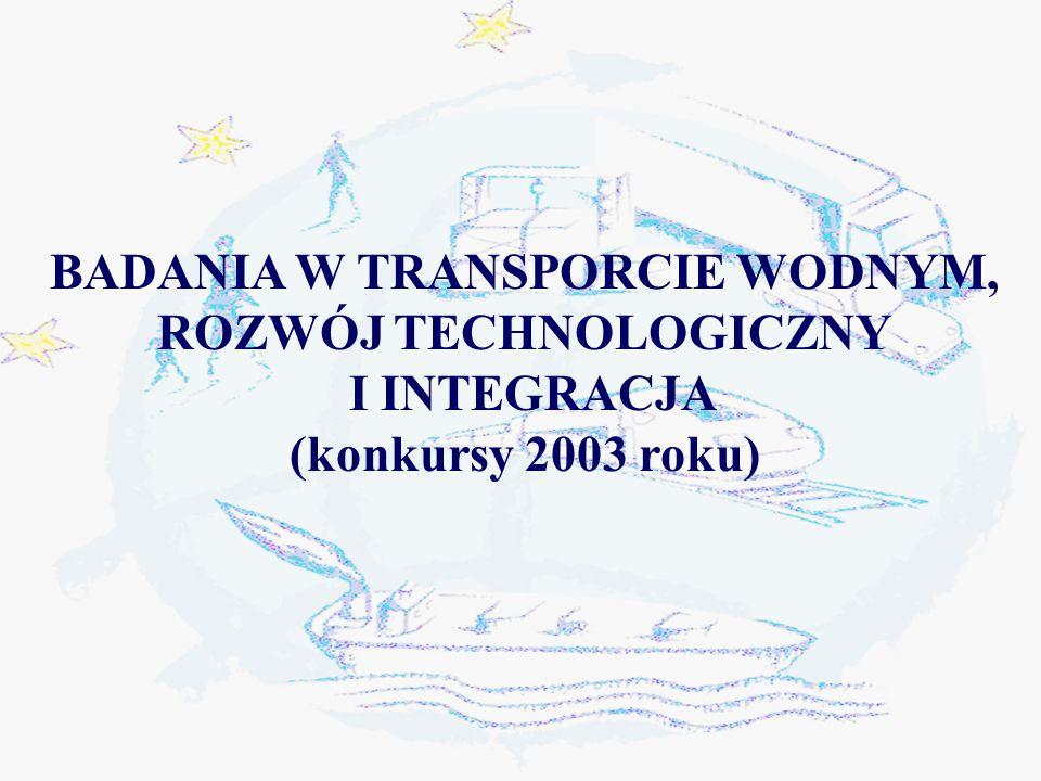 BADANIA W TRANSPORCIE WODNYM, ROZWÓJ TECHNOLOGICZNY I INTEGRACJA (konkursy 2003 roku)