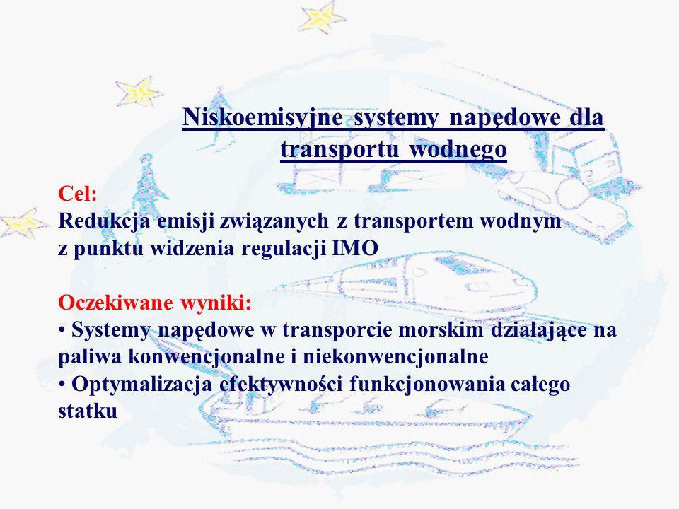 Niskoemisyjne systemy napędowe dla transportu wodnego Cel: Redukcja emisji związanych z transportem wodnym z punktu widzenia regulacji IMO Oczekiwane wyniki: Systemy napędowe w transporcie morskim działające na paliwa konwencjonalne i niekonwencjonalne Optymalizacja efektywności funkcjonowania całego statku