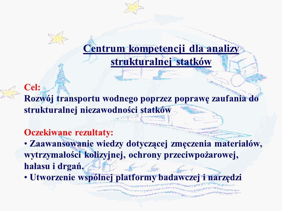 Centrum kompetencji dla analizy strukturalnej statków Cel: Rozwój transportu wodnego poprzez poprawę zaufania do strukturalnej niezawodności statków Oczekiwane rezultaty: Zaawansowanie wiedzy dotyczącej zmęczenia materiałów, wytrzymałości kolizyjnej, ochrony przeciwpożarowej, hałasu i drgań.