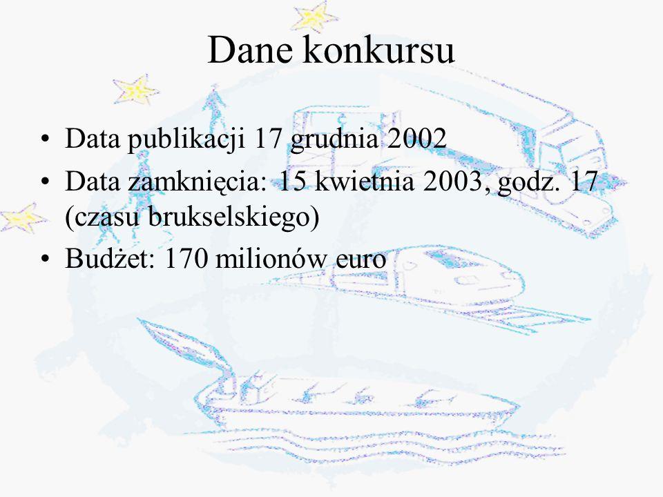 Dane konkursu Data publikacji 17 grudnia 2002 Data zamknięcia: 15 kwietnia 2003, godz.
