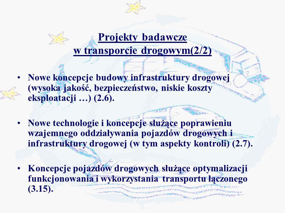 Projekty badawcze w transporcie drogowym(2/2) Nowe koncepcje budowy infrastruktury drogowej (wysoka jakość, bezpieczeństwo, niskie koszty eksploatacji …) (2.6).