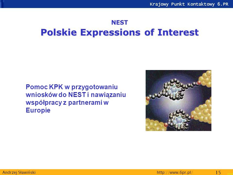Krajowy Punkt Kontaktowy 6.PR http://www.6pr.pl/ 15 Andrzej Sławiński NEST Polskie Expressions of Interest Pomoc KPK w przygotowaniu wniosków do NEST i nawiązaniu współpracy z partnerami w Europie