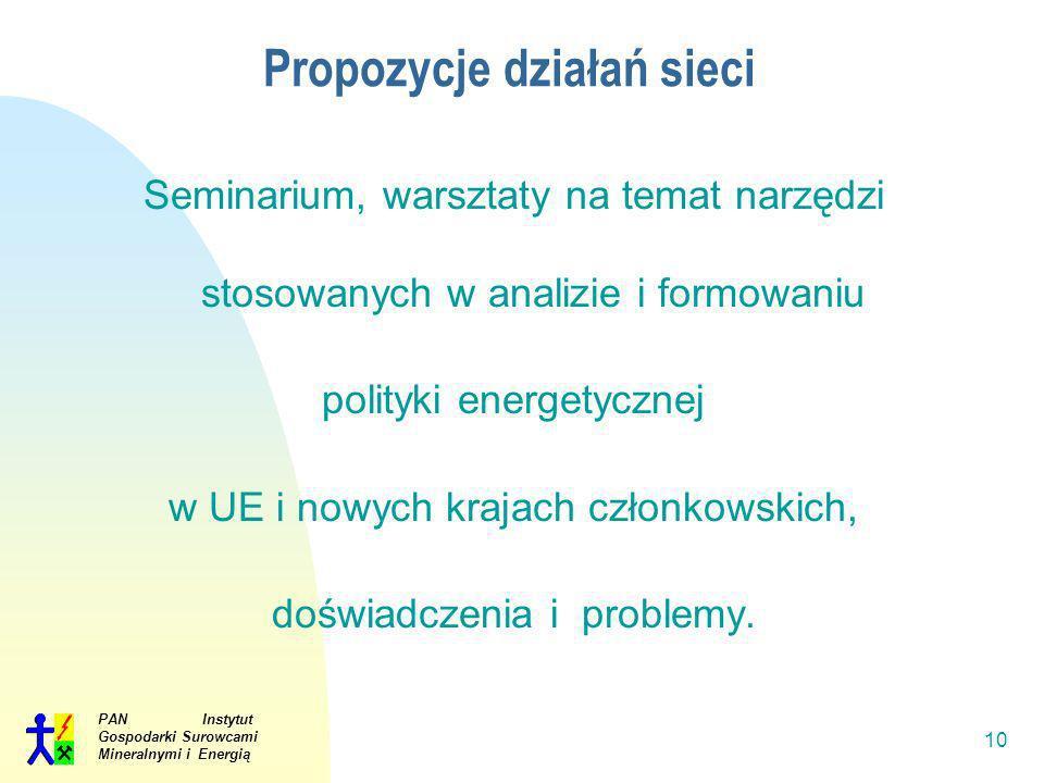PAN Instytut Gospodarki Surowcami Mineralnymi i Energią 10 Propozycje działań sieci Seminarium, warsztaty na temat narzędzi stosowanych w analizie i f