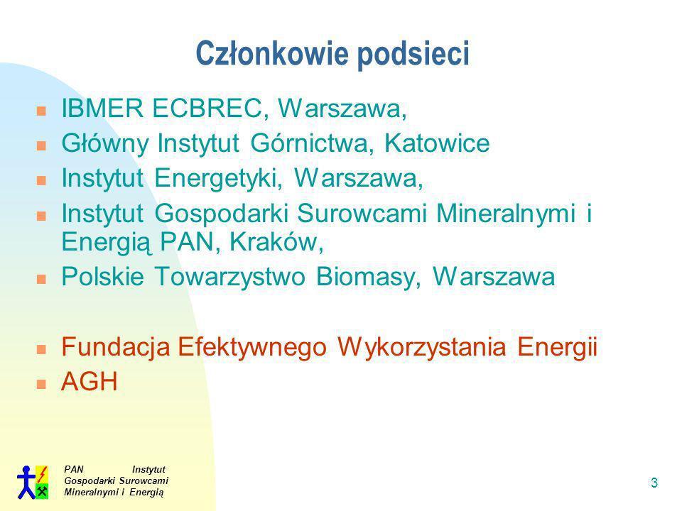 PAN Instytut Gospodarki Surowcami Mineralnymi i Energią 3 Członkowie podsieci IBMER ECBREC, Warszawa, Główny Instytut Górnictwa, Katowice Instytut Ene