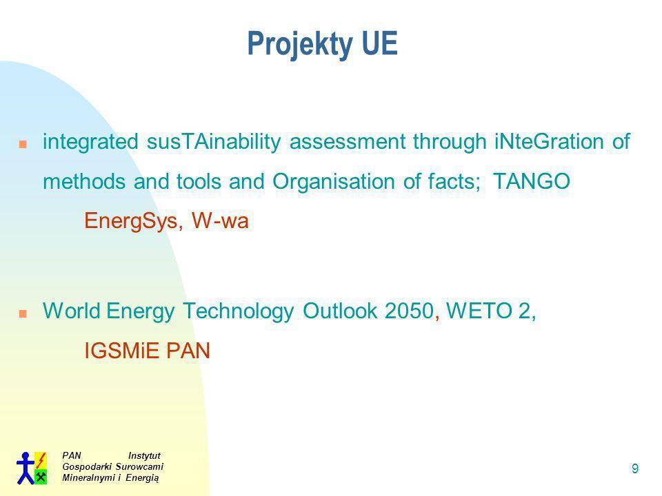 PAN Instytut Gospodarki Surowcami Mineralnymi i Energią 9 Projekty UE integrated susTAinability assessment through iNteGration of methods and tools an