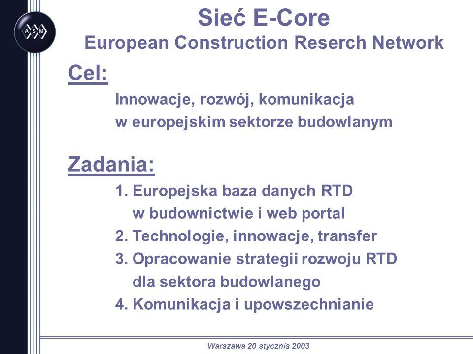 Warszawa 20 stycznia 2003 Sieć E-Core European Construction Reserch Network Cel: Innowacje, rozwój, komunikacja w europejskim sektorze budowlanym Zadania: 1.