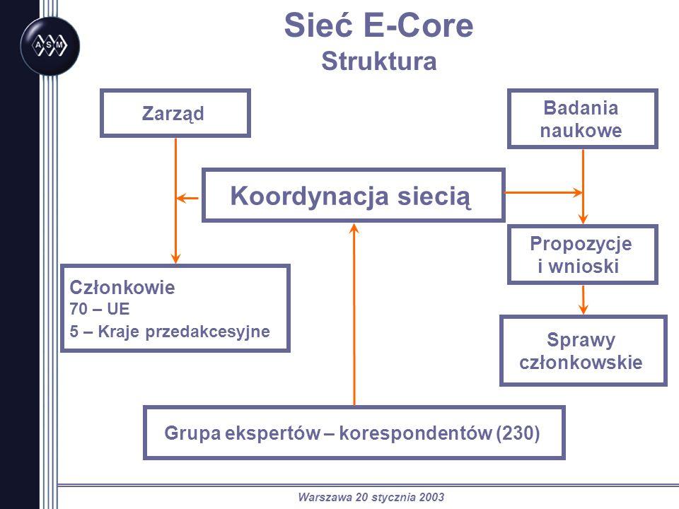 Warszawa 20 stycznia 2003 Sieć E-Core Struktura Zarząd Członkowie 70 – UE 5 – Kraje przedakcesyjne Koordynacja siecią Badania naukowe Propozycje i wni