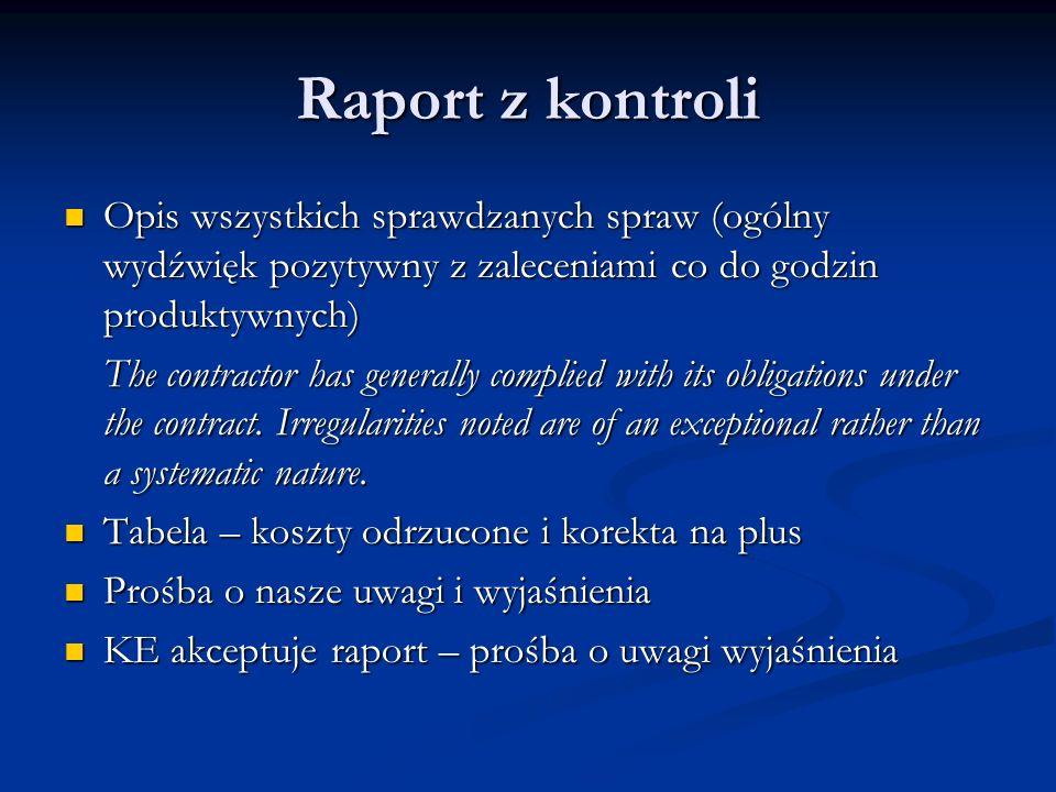 Raport z kontroli Opis wszystkich sprawdzanych spraw (ogólny wydźwięk pozytywny z zaleceniami co do godzin produktywnych) Opis wszystkich sprawdzanych