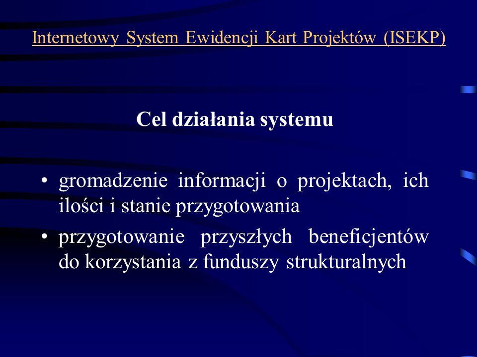 Internetowy System Ewidencji Kart Projektów (ISEKP) Cel działania systemu gromadzenie informacji o projektach, ich ilości i stanie przygotowania przyg