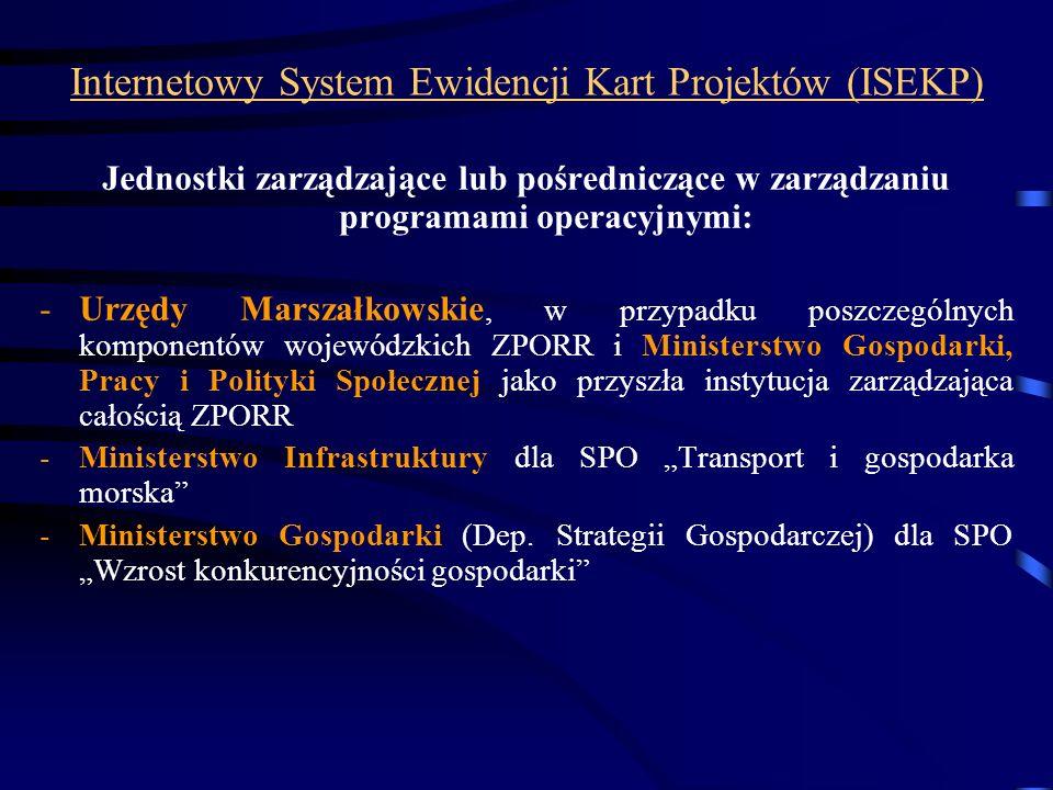 Internetowy System Ewidencji Kart Projektów (ISEKP) Jednostki zarządzające lub pośredniczące w zarządzaniu programami operacyjnymi: -Urzędy Marszałkow