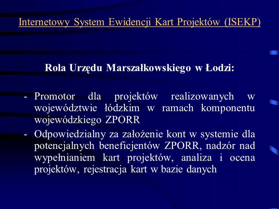 Internetowy System Ewidencji Kart Projektów (ISEKP) Rola Urzędu Marszałkowskiego w Łodzi: -Promotor dla projektów realizowanych w województwie łódzkim
