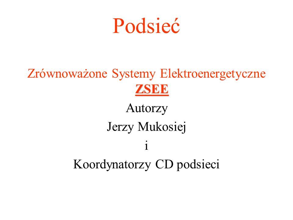 Podsieć ZSEE Zrównoważone Systemy Elektroenergetyczne ZSEE Autorzy Jerzy Mukosiej i Koordynatorzy CD podsieci