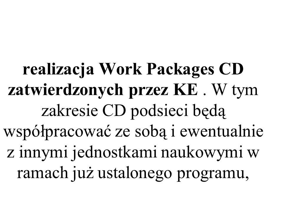 realizacja Work Packages CD zatwierdzonych przez KE. W tym zakresie CD podsieci będą współpracować ze sobą i ewentualnie z innymi jednostkami naukowym