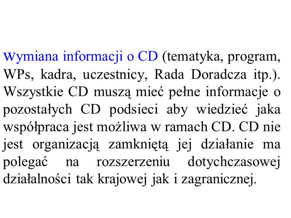 w ymiana informacji o CD (tematyka, program, WPs, kadra, uczestnicy, Rada Doradcza itp.). Wszystkie CD muszą mieć pełne informacje o pozostałych CD po