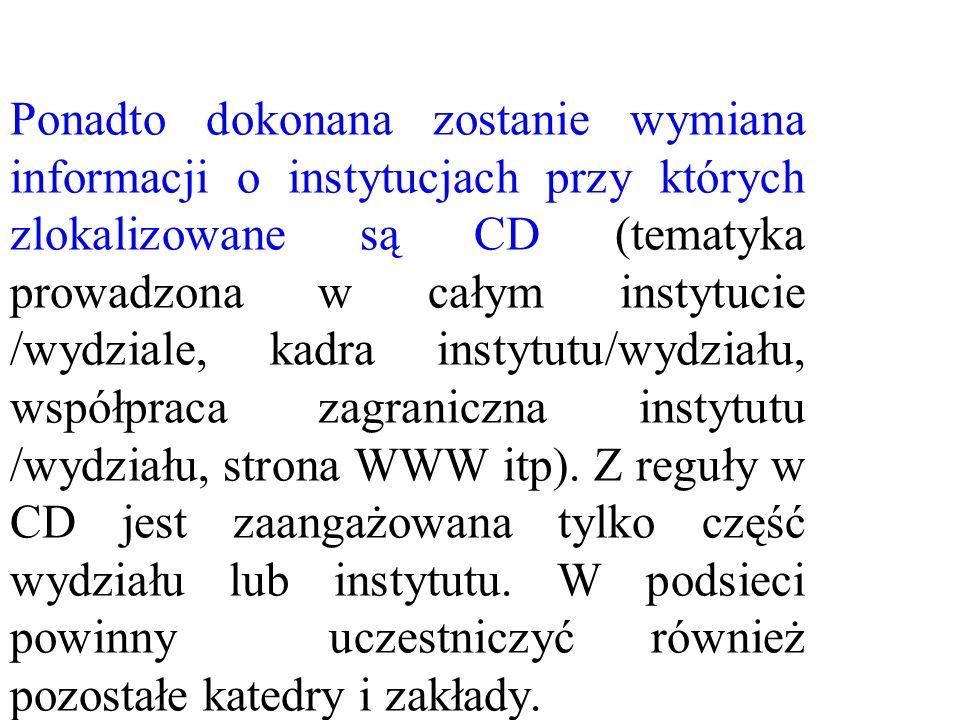 Ponadto dokonana zostanie wymiana informacji o instytucjach przy których zlokalizowane są CD (tematyka prowadzona w całym instytucie /wydziale, kadra
