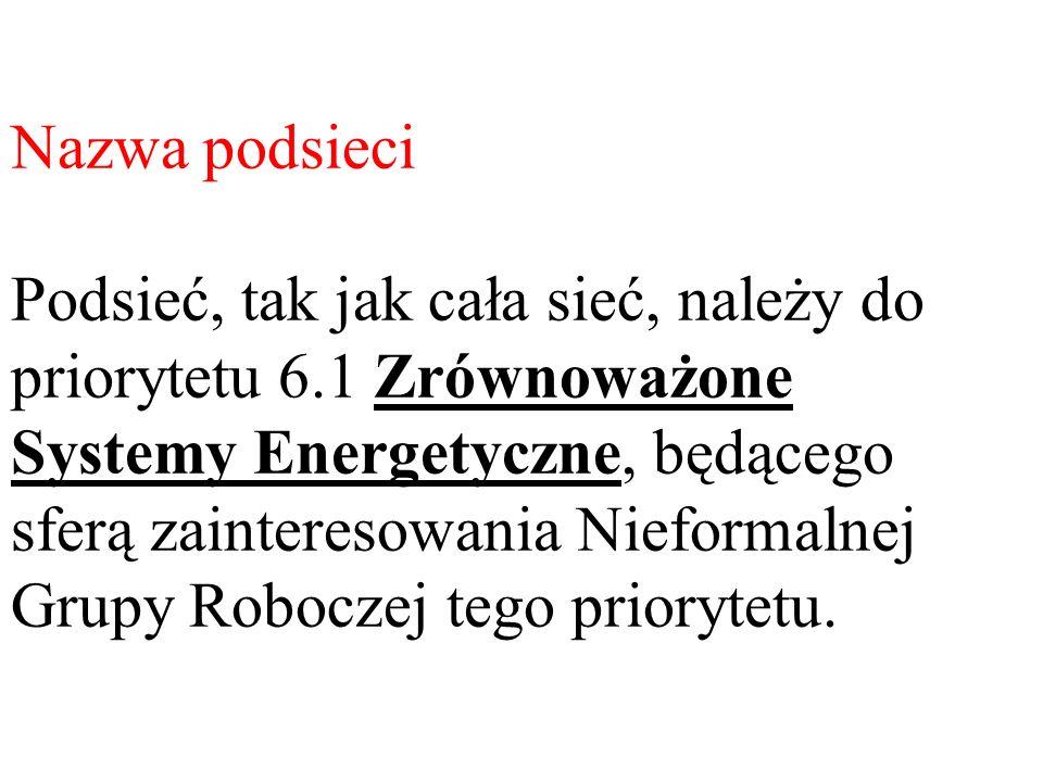 Nazwa podsieci Podsieć, tak jak cała sieć, należy do priorytetu 6.1 Zrównoważone Systemy Energetyczne, będącego sferą zainteresowania Nieformalnej Gru