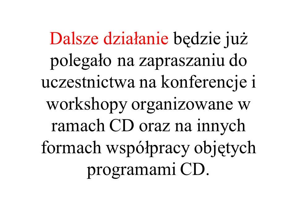 Dalsze działanie będzie już polegało na zapraszaniu do uczestnictwa na konferencje i workshopy organizowane w ramach CD oraz na innych formach współpr