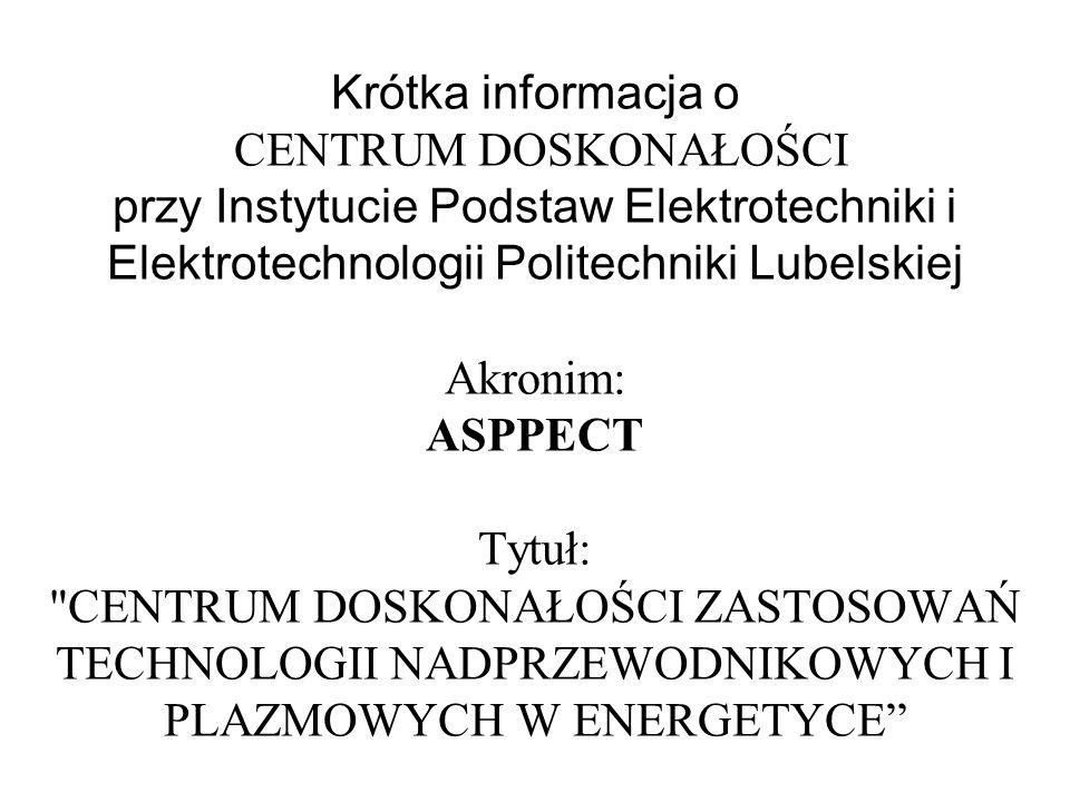Krótka informacja o CENTRUM DOSKONAŁOŚCI przy Instytucie Podstaw Elektrotechniki i Elektrotechnologii Politechniki Lubelskiej Akronim: ASPPECT Tytuł: