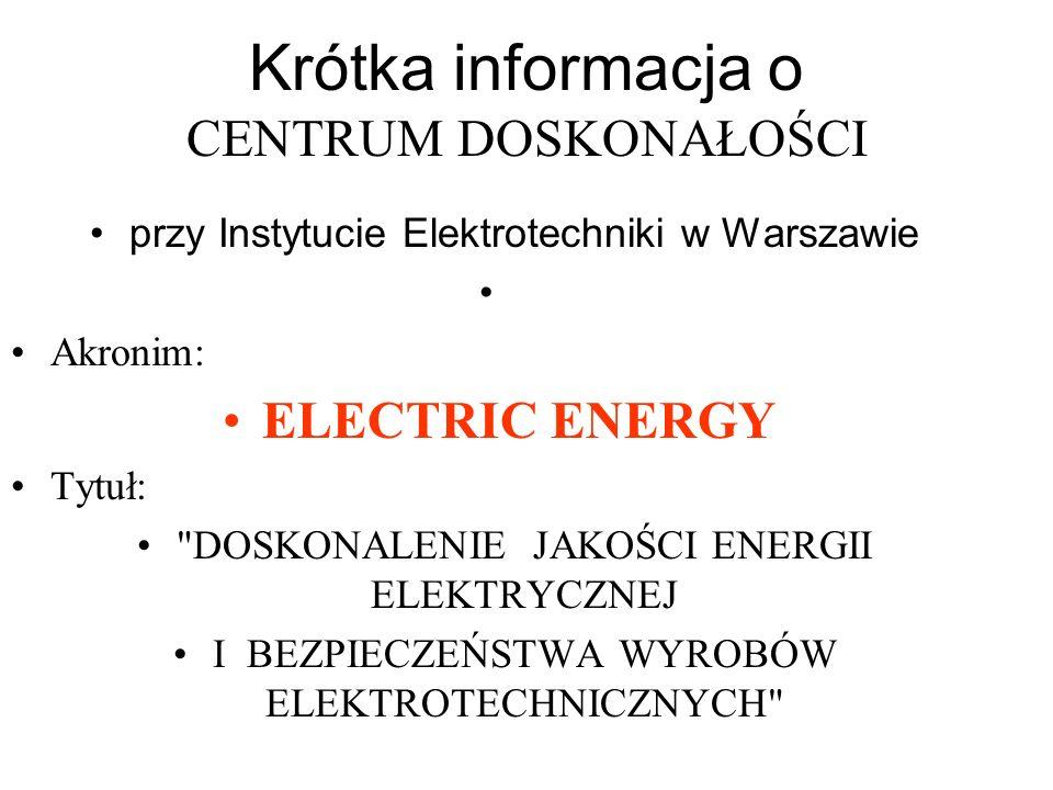 Krótka informacja o CENTRUM DOSKONAŁOŚCI przy Instytucie Elektrotechniki w Warszawie Akronim: ELECTRIC ENERGY Tytuł:
