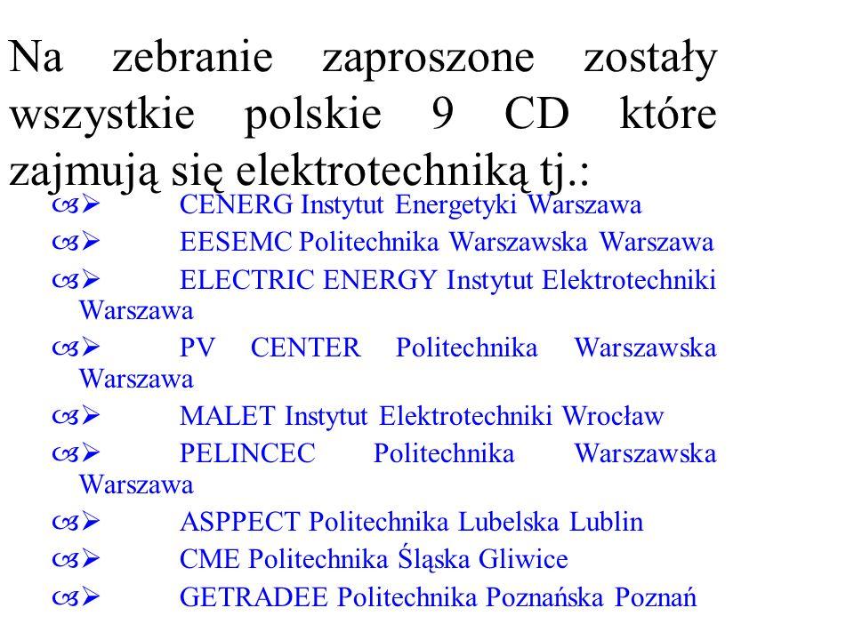 Na zebranie zaproszone zostały wszystkie polskie 9 CD które zajmują się elektrotechniką tj.: – CENERG Instytut Energetyki Warszawa – EESEMC Politechni