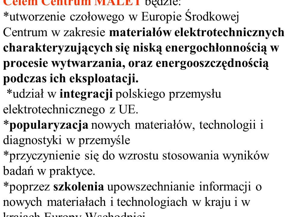 Celem Centrum MALET będzie: *utworzenie czołowego w Europie Środkowej Centrum w zakresie materiałów elektrotechnicznych charakteryzujących się niską e