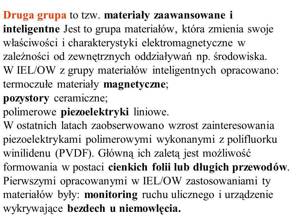 Druga grupa to tzw. materiały zaawansowane i inteligentne Jest to grupa materiałów, która zmienia swoje właściwości i charakterystyki elektromagnetycz
