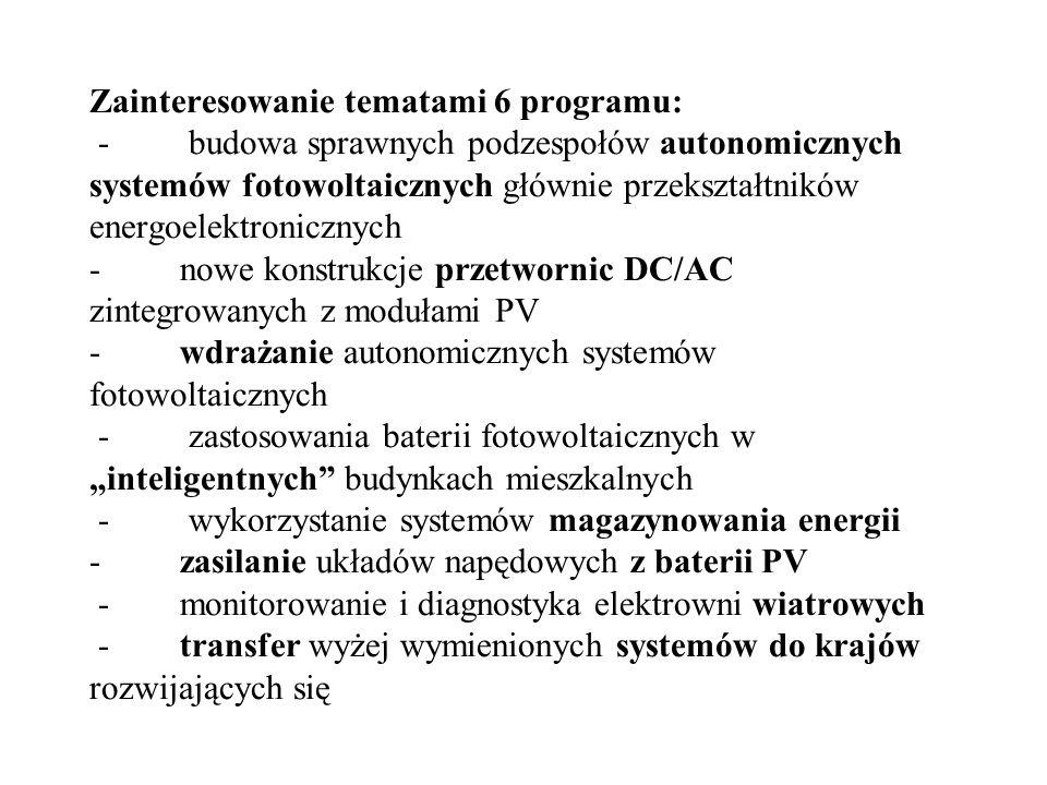 Zainteresowanie tematami 6 programu: - budowa sprawnych podzespołów autonomicznych systemów fotowoltaicznych głównie przekształtników energoelektronic