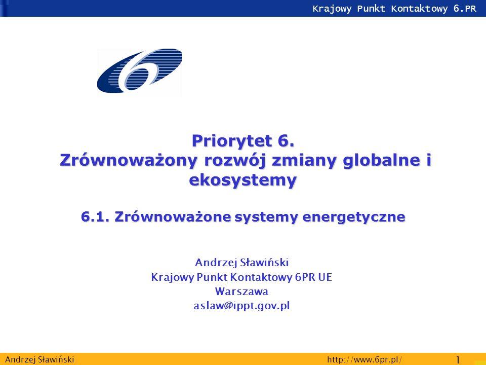 Krajowy Punkt Kontaktowy 6.PR http://www.6pr.pl/ 1 Andrzej Sławiński Priorytet 6.