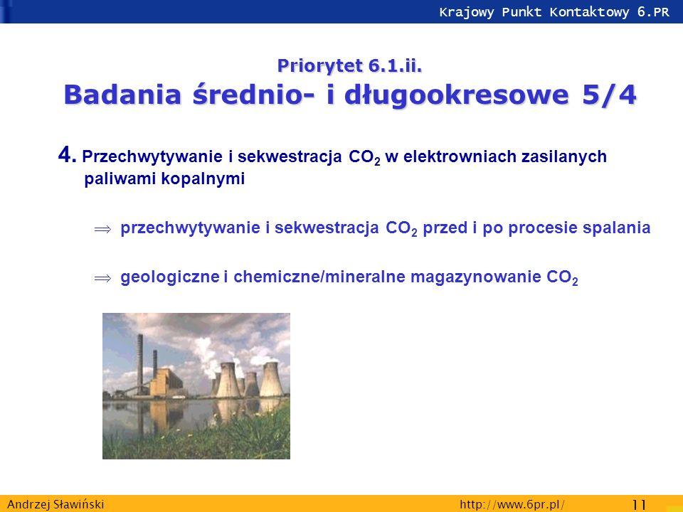 Krajowy Punkt Kontaktowy 6.PR http://www.6pr.pl/ 11 Andrzej Sławiński Priorytet 6.1.ii.