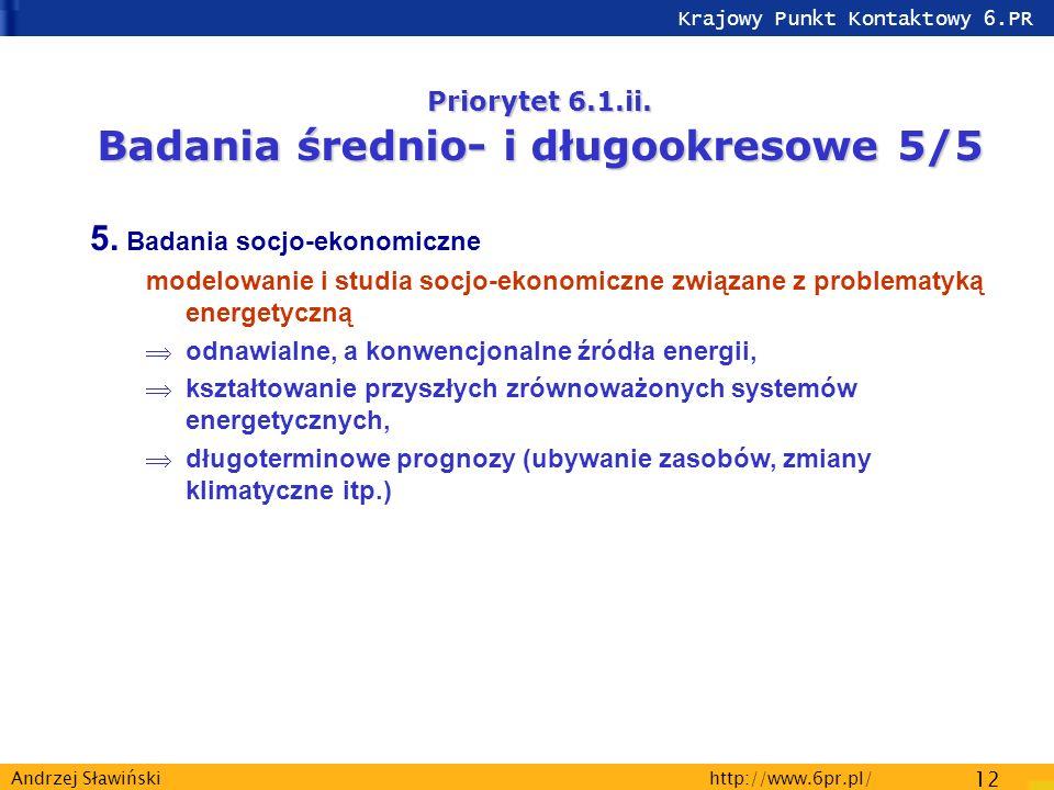 Krajowy Punkt Kontaktowy 6.PR http://www.6pr.pl/ 12 Andrzej Sławiński Priorytet 6.1.ii.