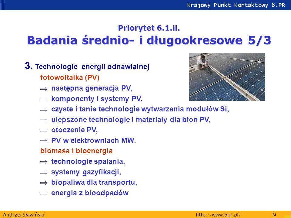 Krajowy Punkt Kontaktowy 6.PR http://www.6pr.pl/ 9 Andrzej Sławiński Priorytet 6.1.ii.