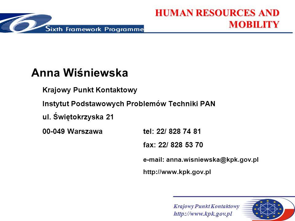 Krajowy Punkt Kontaktowy http://www.kpk.gov.pl HUMAN RESOURCES AND MOBILITY Anna Wiśniewska Krajowy Punkt Kontaktowy Instytut Podstawowych Problemów Techniki PAN ul.